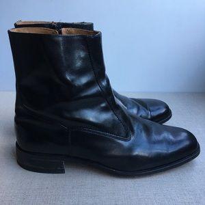 Florsheim Men US 10.5 Black Leather Zip-Up Boots